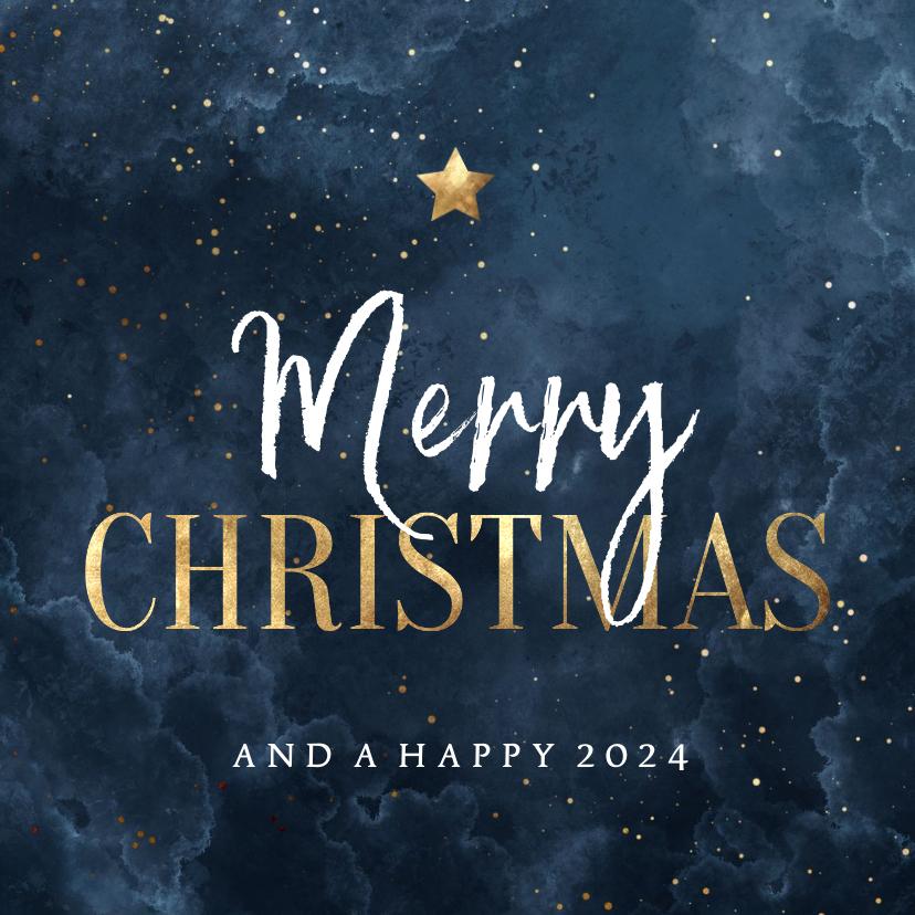 Zakelijke kerstkaarten - Zakelijke kerstkaart waterverf Merry Christmas met ster