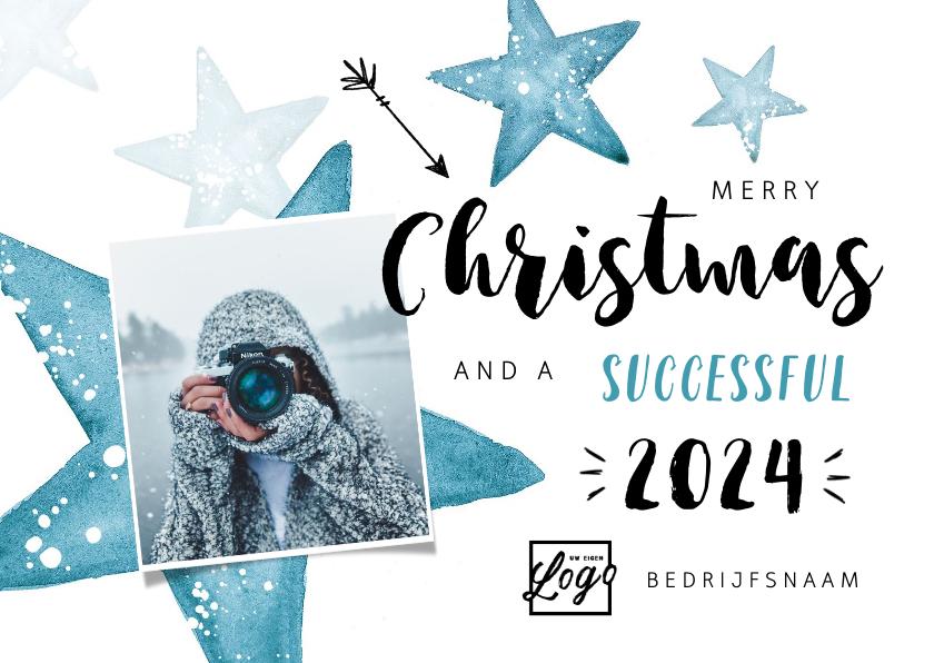 Zakelijke kerstkaarten - Zakelijke kerstkaart winter sterren foto logo blauw