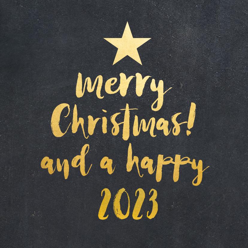 Zakelijke kerstkaarten - Zakelijke kerstkaart zwart kerstboom met gouden letters
