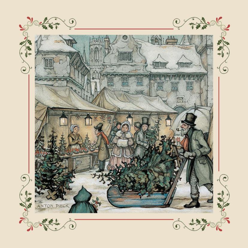 Zakelijke kerstkaarten - Zakelijke kerstkaarten - Anton Pieck kerstmarkt met kader