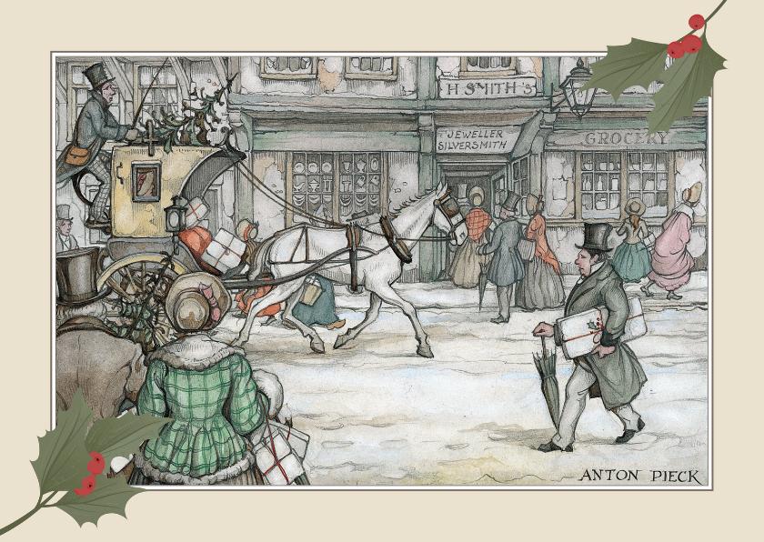 Zakelijke kerstkaarten - Zakelijke kerstkaarten - Anton Pieck koets met paard