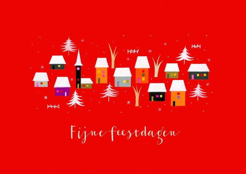 Zakelijke kerstkaarten - Zakelijke kerstkaarten - Huisjes met kerstboompjes