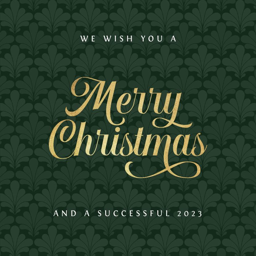 Zakelijke kerstkaarten - Zakelijke merry christmas kaart art deco patroon goud groen
