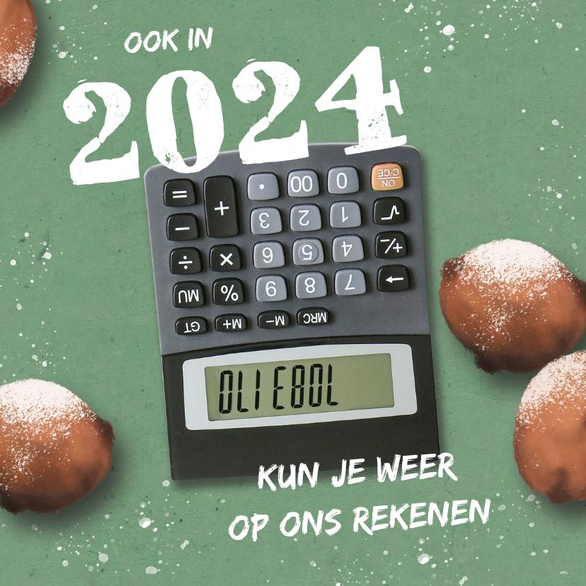 Zakelijke kerstkaarten - Zakelijke nieuwjaarskaart met oliebollen en rekenmachine