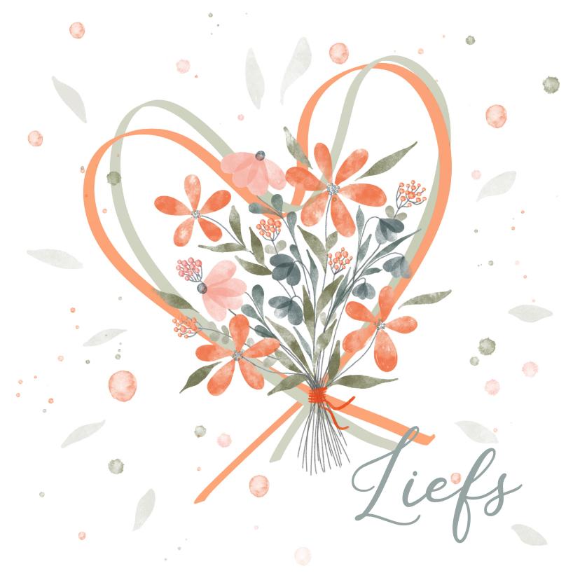 Zomaar kaarten - Boeket bloemen oranje met harten