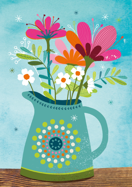 Zomaar kaarten - Bos bloemen in vaas op waterverf
