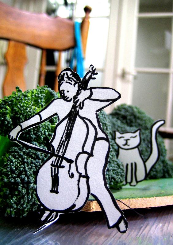 Zomaar kaarten - Cello speler met kat