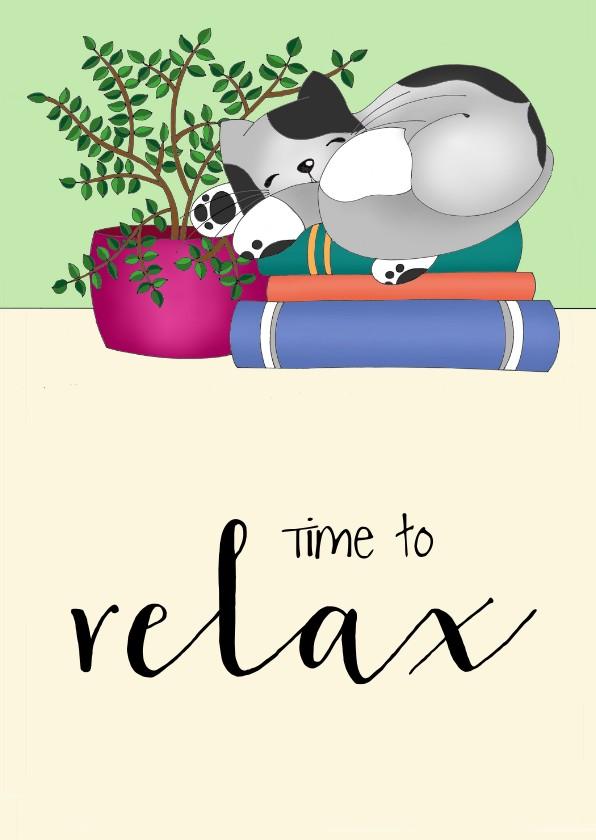 Zomaar kaarten - Coachingskaart - relax kat - SK