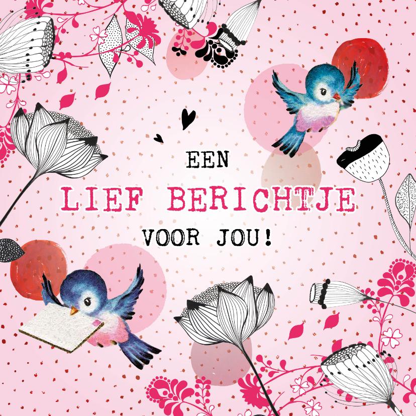 Zomaar kaarten - Een lief, roze berichtje aan jou! Omdat ik aan je denk.
