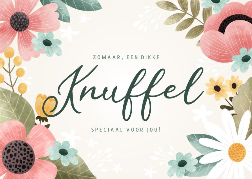 Zomaar kaarten - Fleurige zomaar kaart 'Knuffel' bloemen, bladeren en takjes