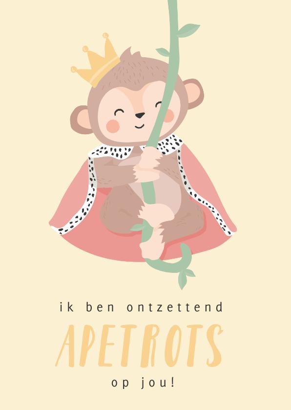 Zomaar kaarten - Gele kaart met getekende aap 'apetrots op jou'!