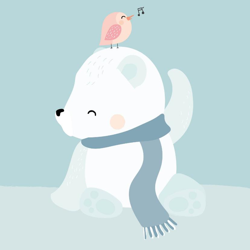 Zomaar kaarten - Getekend ijsbeertje met vogeltje op zijn hoofd