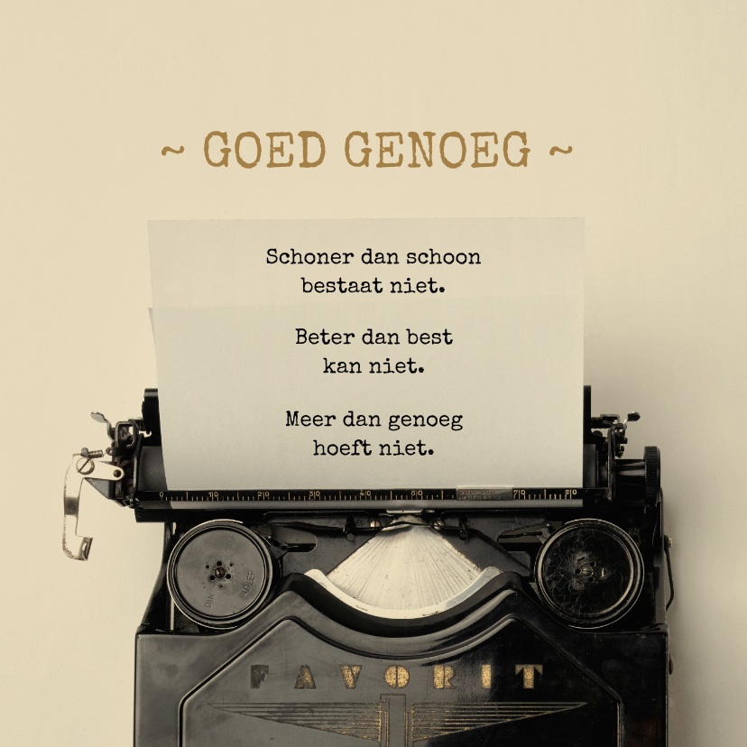 Zomaar kaarten - Goed genoeg met typemachine