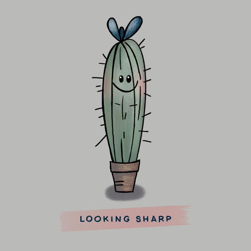 Zomaar kaarten - Grappige zomaar-kaart met cactus om een compliment te geven