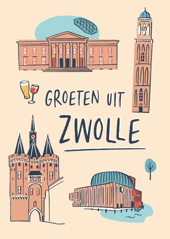 Zomaar kaarten - Groeten uit Zwolle stad illustraties