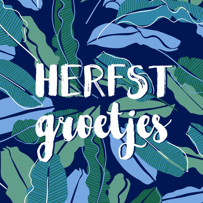 Zomaar kaarten - Herfstkaart bladeren donkerblauw