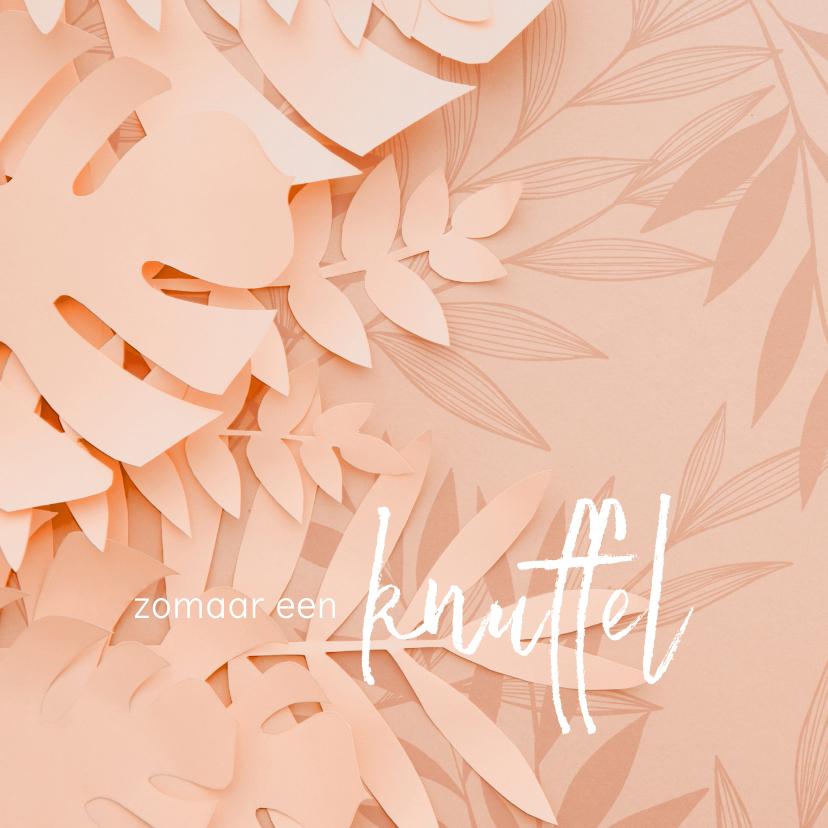 Zomaar kaarten - Knuffel kaart met roze bloemen