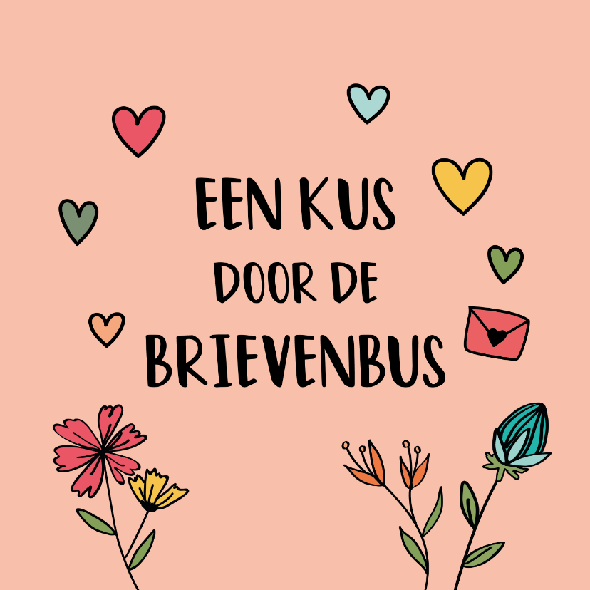 Zomaar kaarten - Kus door de brievenbus - hearts and flowers - zomaarkaart