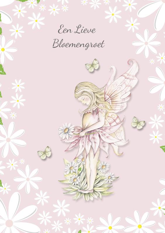 Zomaar kaarten - Lieve Bloemengroet met lief roze elfje