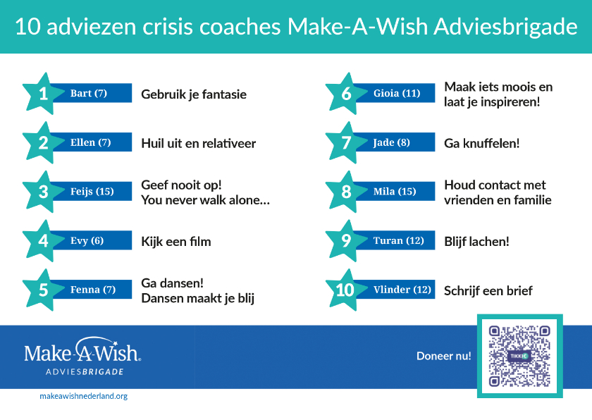 Zomaar kaarten - Make-A-Wish 10 adviezen Adviesbrigade crisis coaches
