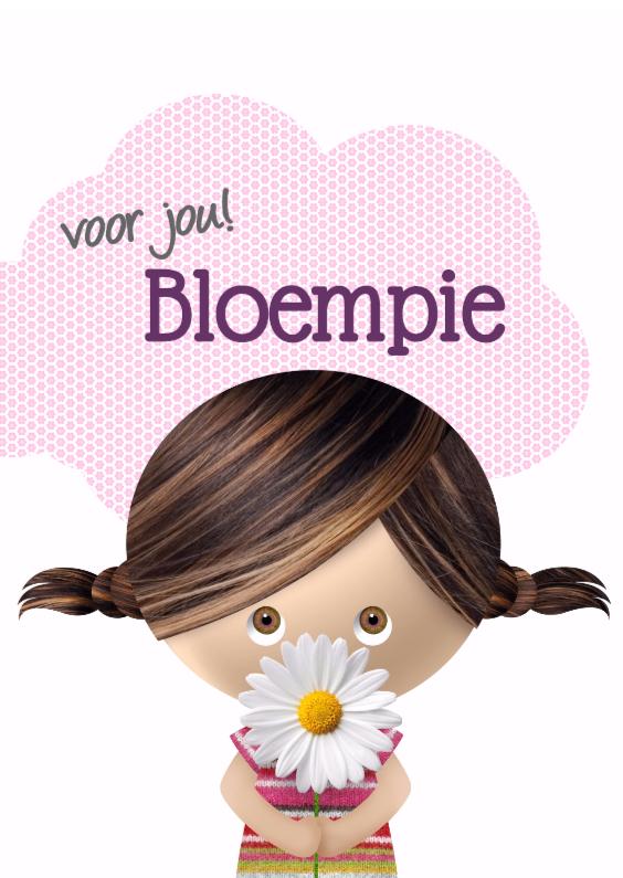 Zomaar kaarten - Schattig meisje met bloem