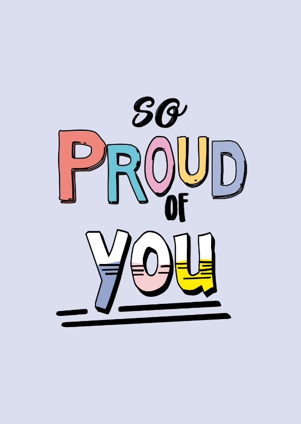 Zomaar kaarten - So proud of you - text color - zomaar kaart