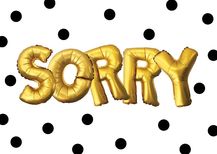 Zomaar kaarten - Sorry kaart illustratie goudkleurig