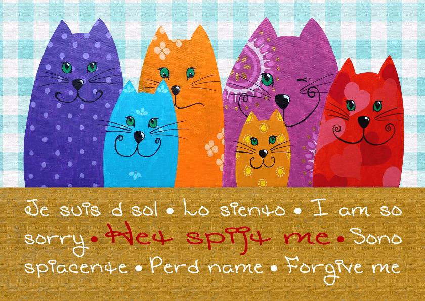 Zomaar kaarten - Sorry kaart Katten het spijt me