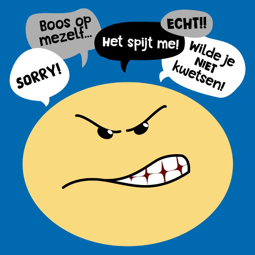 Zomaar kaarten - Sorry kaart Smiley boos