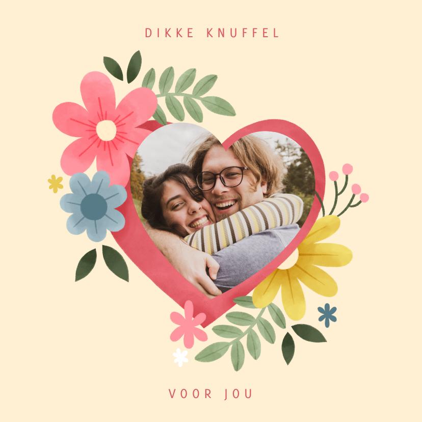 Zomaar kaarten - Sterkte kaart knuffel met hart, bloemen en foto