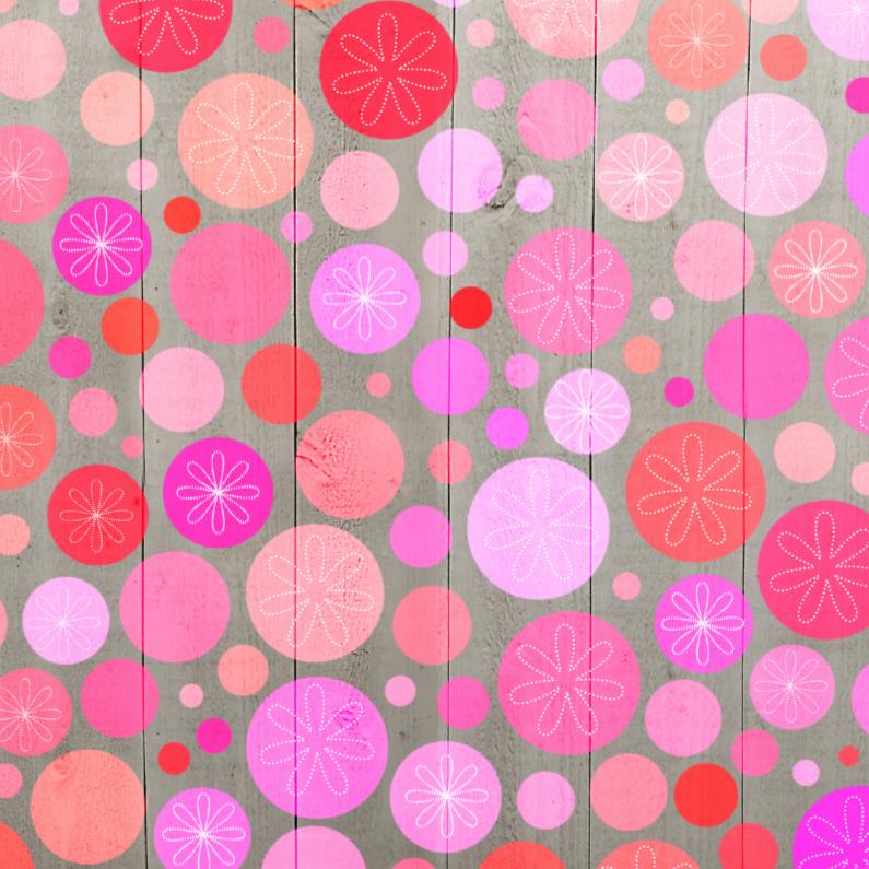 Zomaar kaarten - Stippen roze op hout