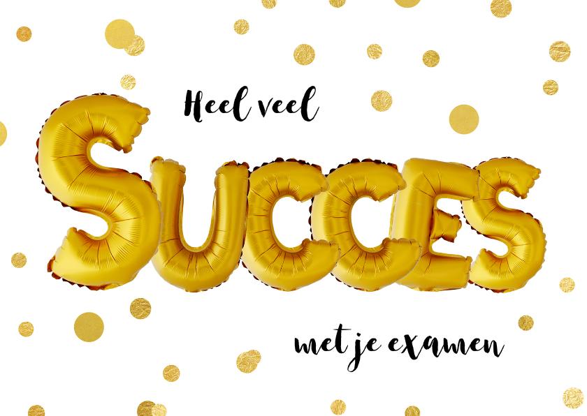 Zomaar kaarten - Succes examen ballon goud confetti