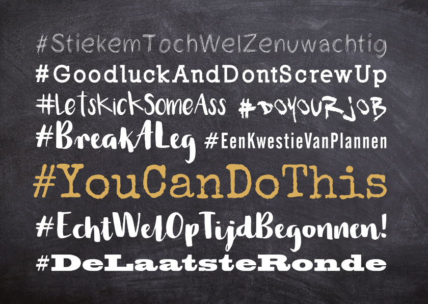 Zomaar kaarten - Succes hashtag tekstwolk