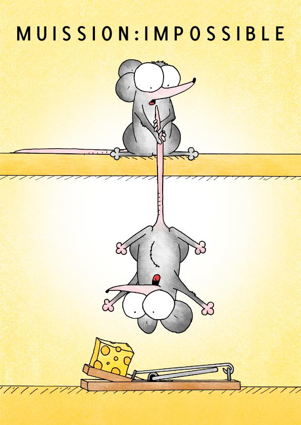 Zomaar kaarten - Succes kaart met twee muizen die de kaas van een val pakken