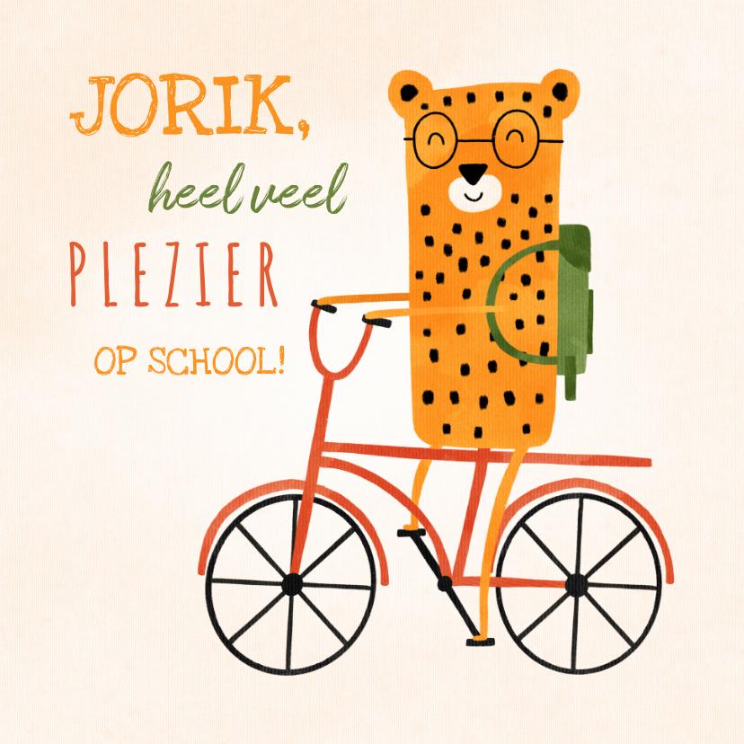 Zomaar kaarten - Succes kaart school met luipaardje op rode fiets