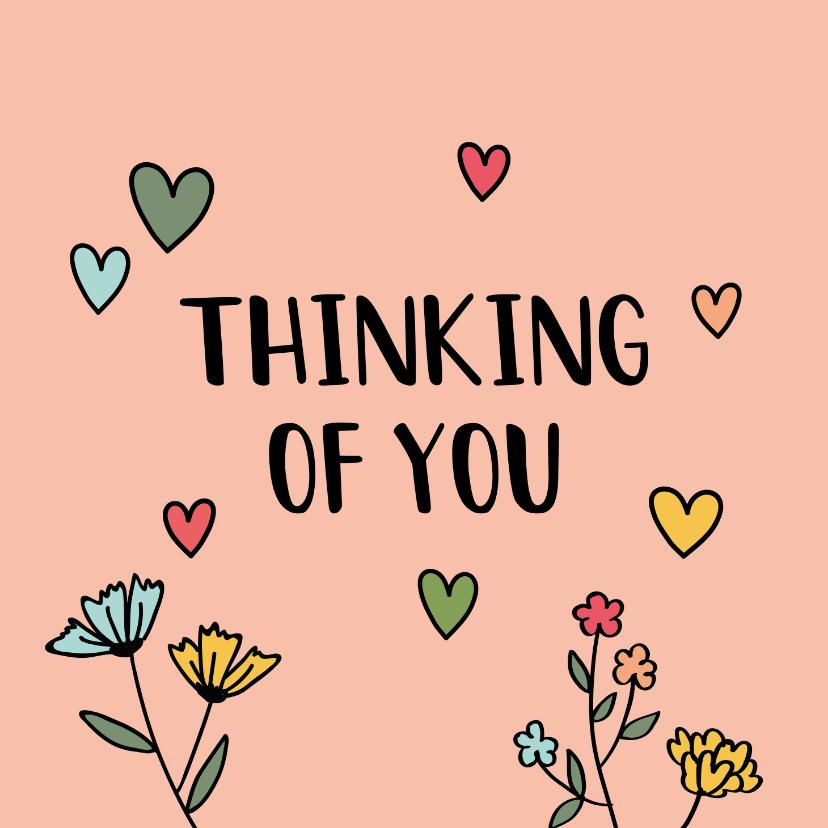 Zomaar kaarten - Thinking of you - hearts and flowers - zomaarkaart