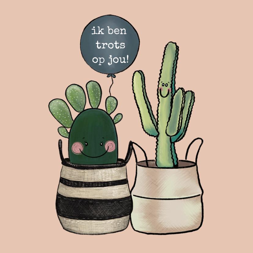 Zomaar kaarten - Vrolijke coachingskaart 'Ik ben trots op jou!' met cactussen