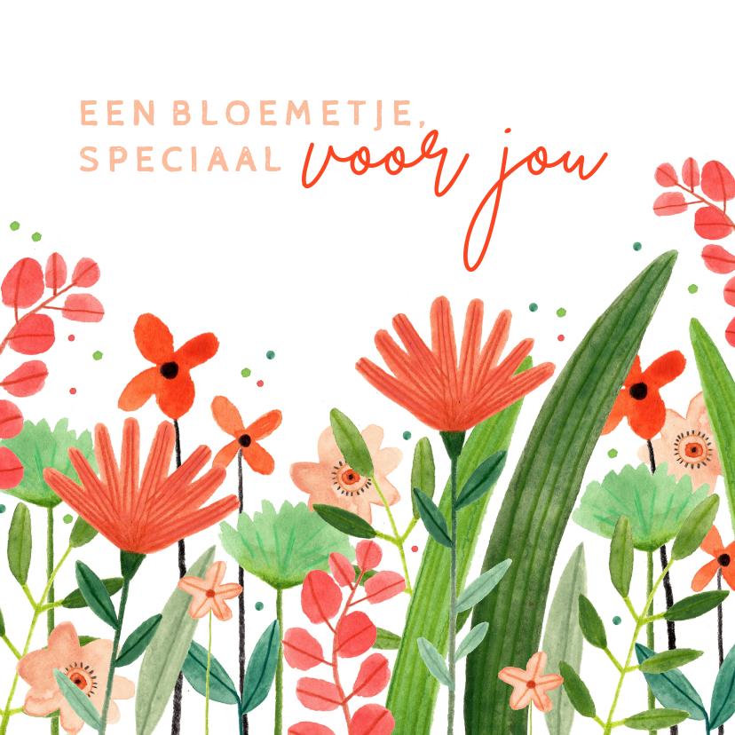 Zomaar kaarten - Vrolijke zomaar kaart bloemetje speciaal voor jou rood groen