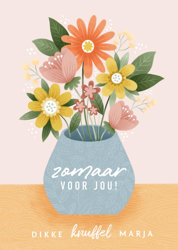Zomaar kaarten - Vrolijke zomaar kaart met bosje bloemen