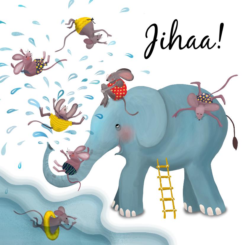 Zomaar kaarten - Waterpret met olifant en muizen