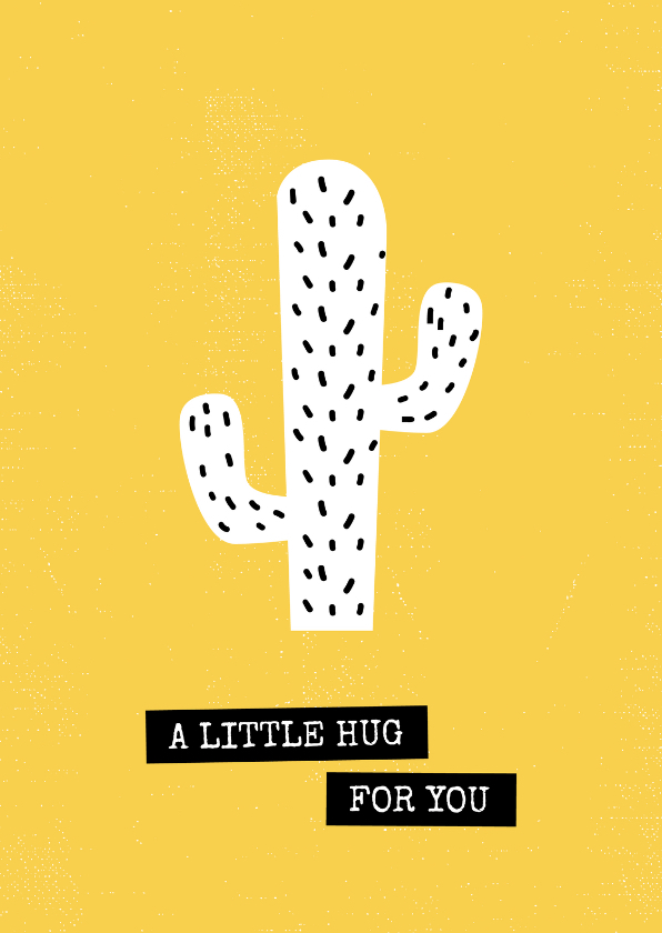 Zomaar kaarten - Wenskaart 'a little hug for you' okergeel cactus