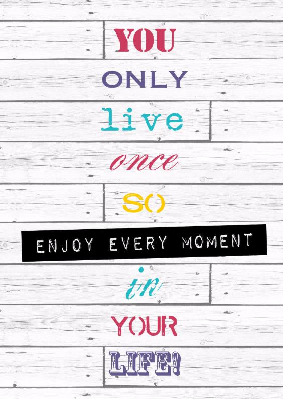 Zomaar kaarten - Woorden Enjoy every moment - BK