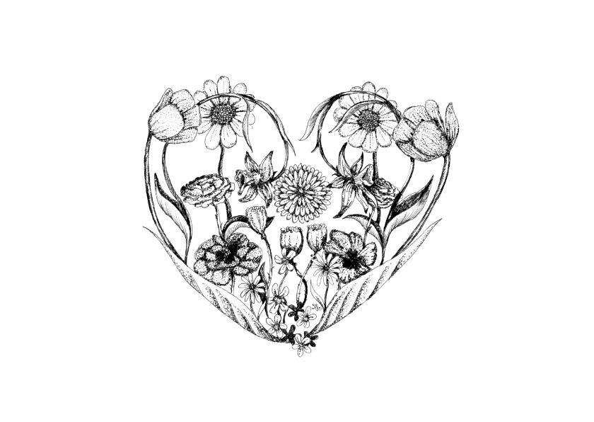 Zomaar kaarten - Zomaar een bloemige hart kaart