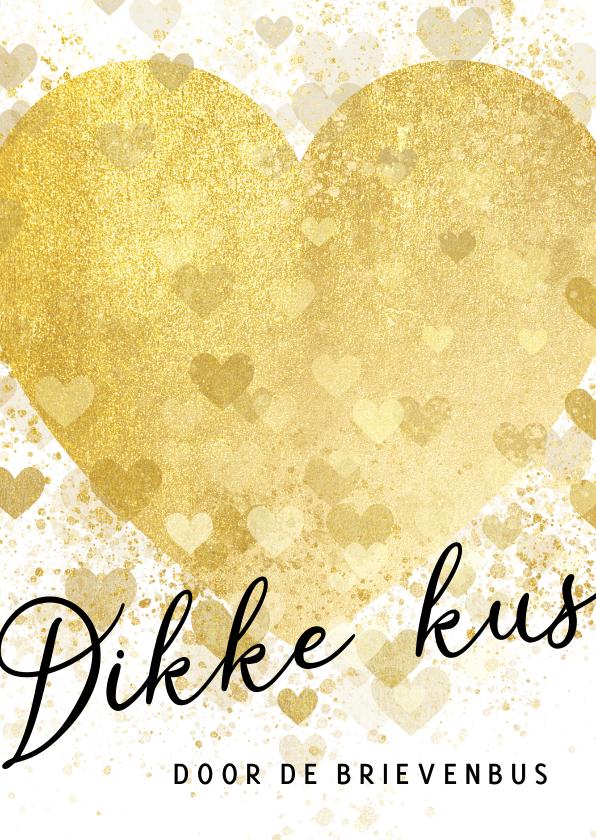 Zomaar kaarten - Zomaar kaart dikke kus door de brievenbus gouden hart