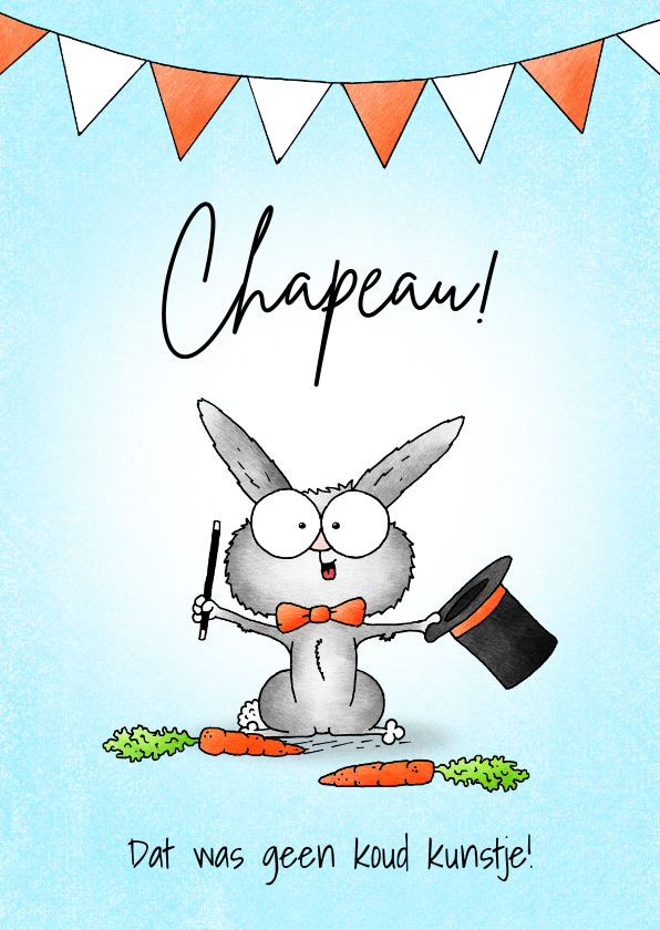 Zomaar kaarten - Zomaar kaart lief goochelaar konijntje met hoed - Chapeau!