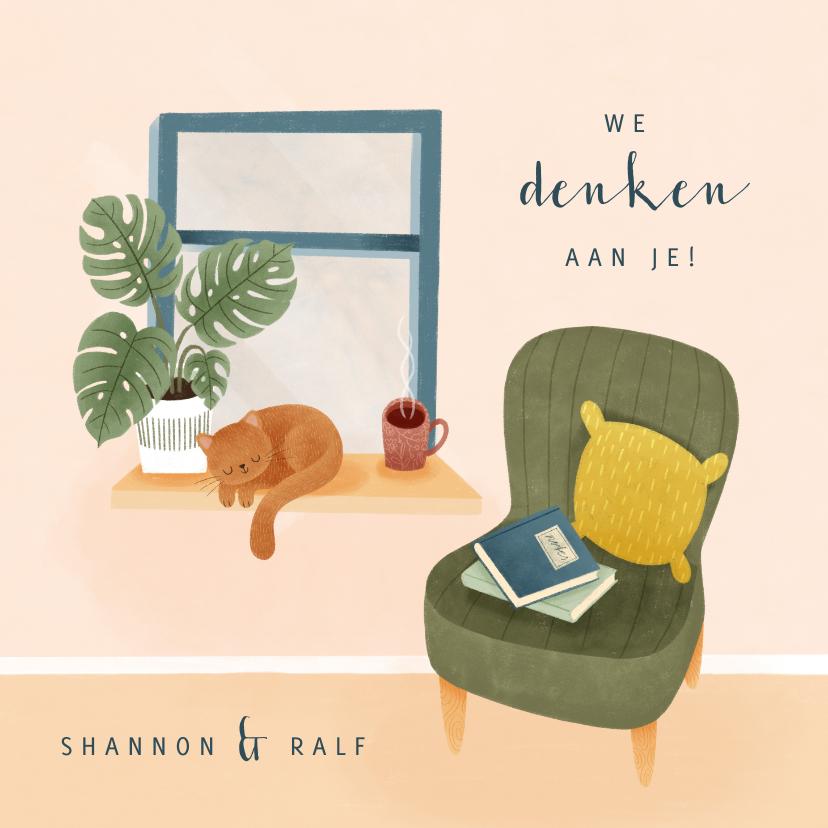 Zomaar kaarten - Zomaar kaart met raam plant kat & stoel 'we denken aan je'
