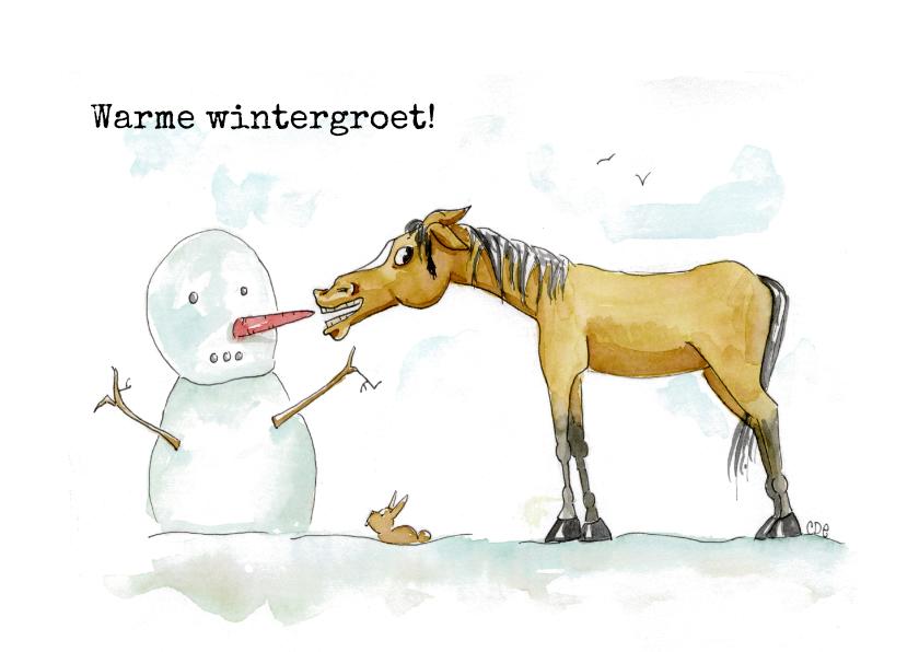 Zomaar kaarten - Zomaar kaarten warme wintergroet Sjors met sneeuwpop