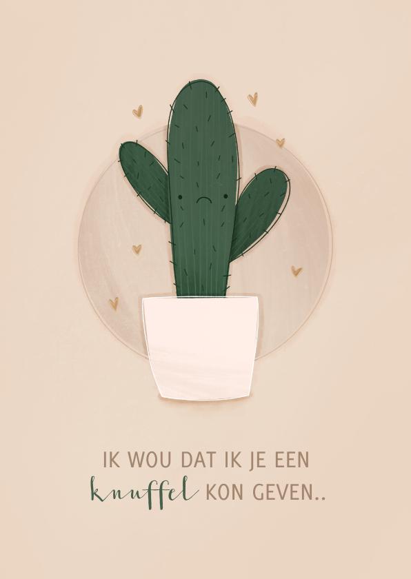 Zomaar kaarten - Zomaar kaartje cactus ik wou dat ik je een knuffel kon geven