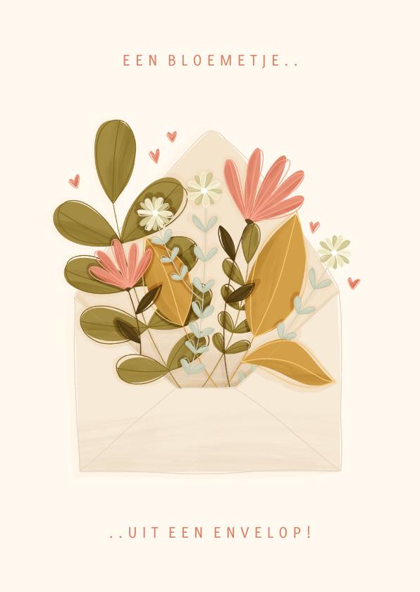 Zomaar kaarten - Zomaar kaartje een bloemetje uit een envelop