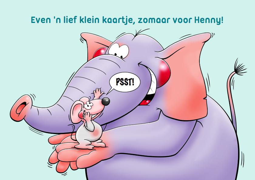 Zomaar kaarten - Zomaar kaartje kaartje met muisje en olifant met een briefje